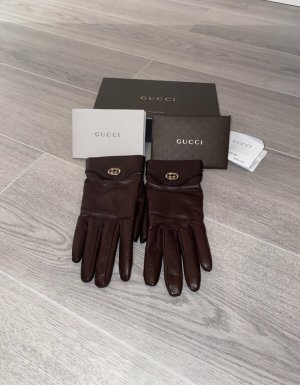 Gucci Leather Gloves bordeaux