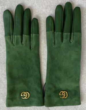 Gucci Gants en cuir vert forêt cuir