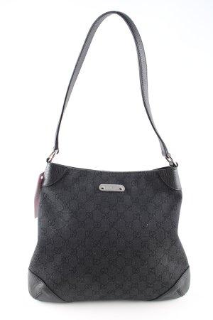 Gucci Handtasche hellgrau-schwarz Motivdruck Business-Look