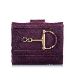 Gucci Portemonnee paars Leer