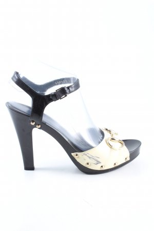 Gucci High Heel Sandaletten schwarz-creme Glanz-Optik