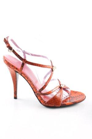 Gucci High Heel Sandaletten hellorange-braun Animalmuster Casual-Look
