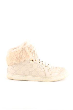 Gucci High Top Sneaker creme Schriftzug gedruckt Casual-Look