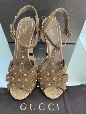 Gucci Sandaletto con tacco alto marrone chiaro-oro Pelle