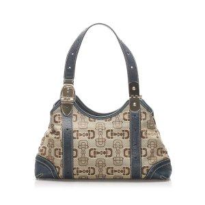 Gucci Horsebit Canvas Handbag