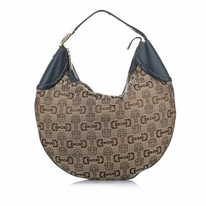Gucci Horsebit Canvas Hobo Bag