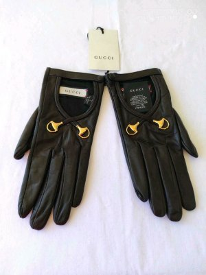 Gucci Leather Gloves black-gold-colored leather