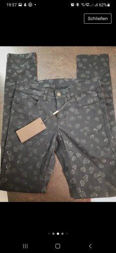 Gucci Pantalón de tubo negro-color plata