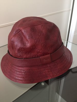 Gucci Panama Hat bordeaux leather