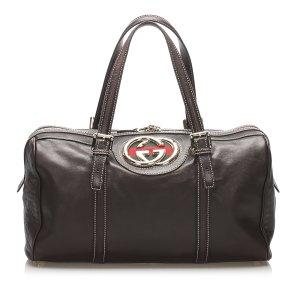 Gucci Interlocking G Britt Leather Shoulder Bag