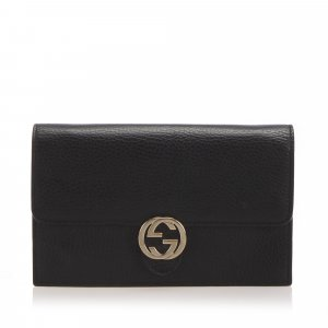 Gucci Interlocking G Leather Chain Crossbody Bag