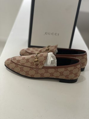 Gucci Mocassins marron clair-beige clair lin