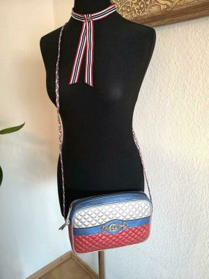 GUCCI LAMINATED CROSSBODY SHOULDERBAG BLUE SILVER RED LEATHER NEW