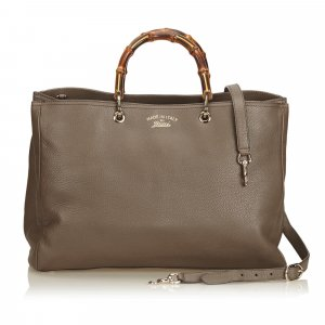 Gucci Large Bamboo Leather Shopper