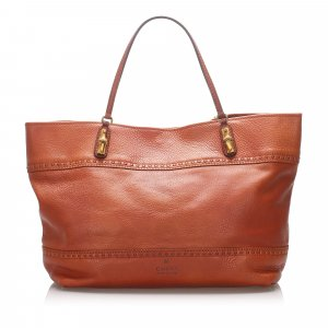Gucci Leather Bamboo Crafty Tote Bag