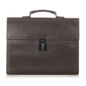 Gucci Serviette brun foncé cuir