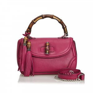 Gucci Leather New Bamboo Satchel
