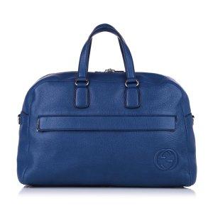 Gucci Bolso de viaje azul Cuero