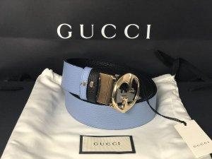Gucci Cinturón doble negro-azul aciano