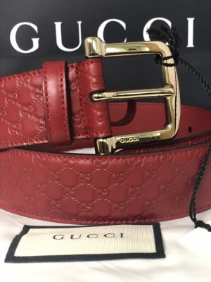 Gucci Ceinture en cuir rouge carmin