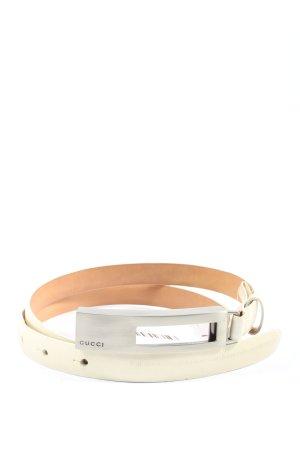 Gucci Cinturón de cuero blanco puro look casual