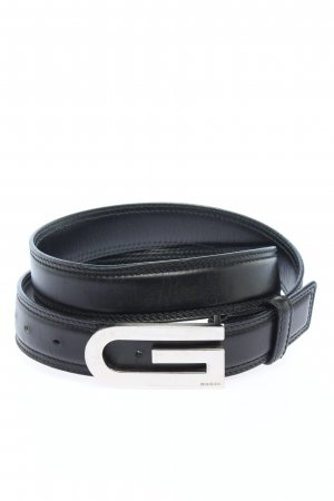 Gucci Cinturón de cuero negro-color plata estilo «business»