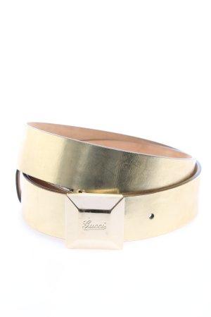 Gucci Cinturón de cuero color oro look efecto mojado