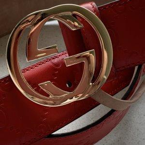 Gucci Cintura di pelle rosso