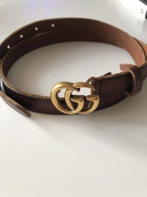 Gucci Skórzany pasek brązowy