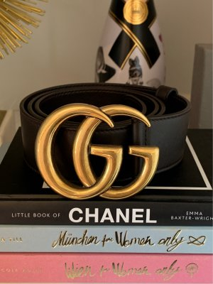 Gucci Leather Belt gold-colored-dark brown leather
