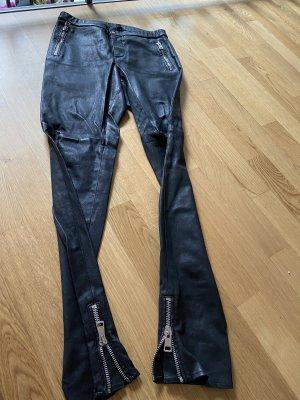 Gucci Pantalón de cuero negro-color plata