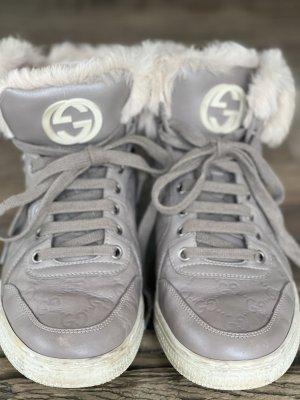 Gucci Ledersneakers in Greige