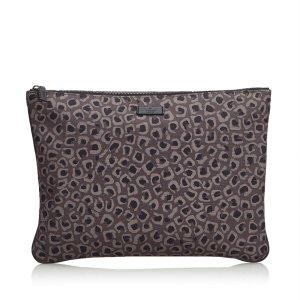Gucci Leopard Print Nylon Clutch Bag