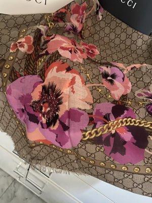 Gucci Bufanda de lana beige-rojo frambuesa