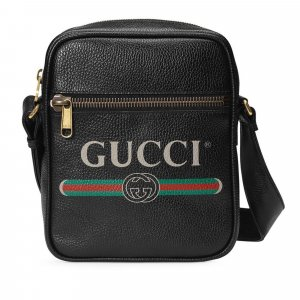 Gucci Logo Leather Tote Bag