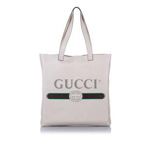 Gucci Logo Leather Tote Bag