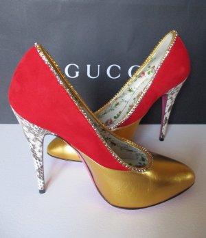Gucci Tacco alto oro-rosso Pelle