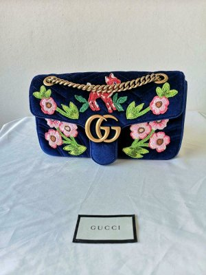 GUCCI MARMONT 2 COBALT BLUE QUILTED BAMBI EDITION BAG - CROSSBODY