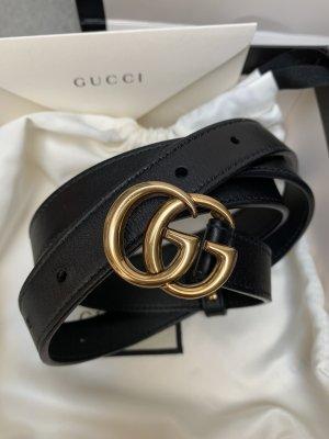 Gucci Skórzany pasek czarny-złoto