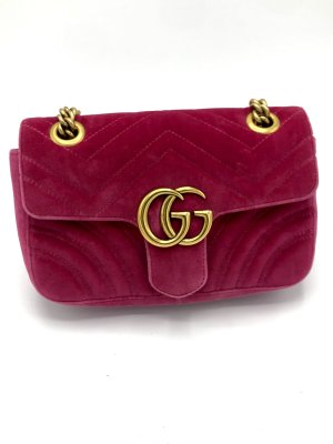 Gucci Marmont pinkfarbene samt Mini mit Rechnung