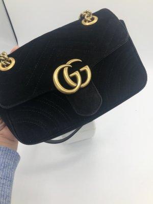 Gucci Marmont samt Mini schwarz mit Rechnung