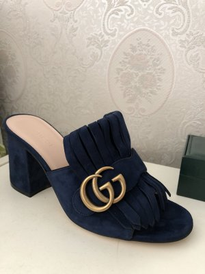 Gucci Marmont Sandalen aus Veloursleder Pantoletten Größe 36