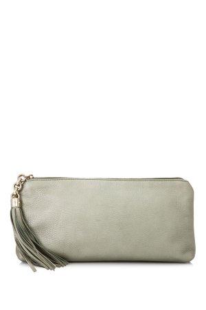 Gucci Metallic Leather Tassel Clutch Bag
