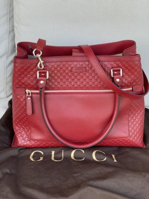 GUCCI Microguccissima Leather Large Tote with strap Red