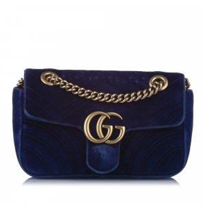 Gucci Mini GG Marmont Matelasse Velvet Crossbody Bag