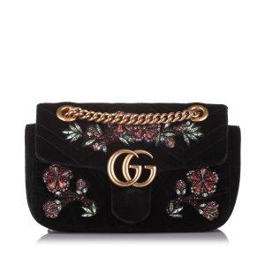 Gucci Mini GG Marmont Matelasse Velvet Crossbody Bag
