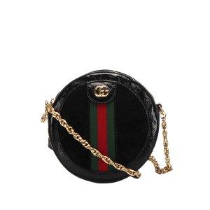 Gucci Mini Round Ophidia Suede Crossbody Bag