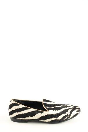 Gucci Mokassins schwarz-weiß Animalmuster Casual-Look