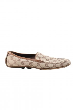 Gucci Moccasins brown-cream printed lettering casual look