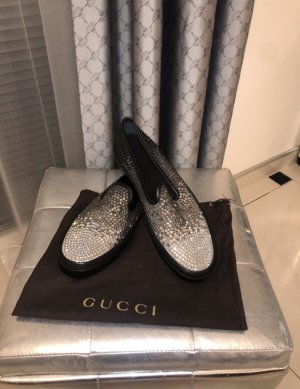 Gucci Mocasines negro-color plata